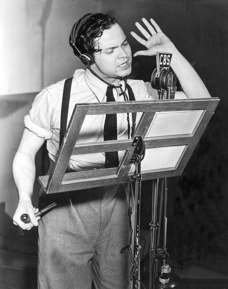 A passionate 23-year-old Orson Welles at CBS Radio in 1938.