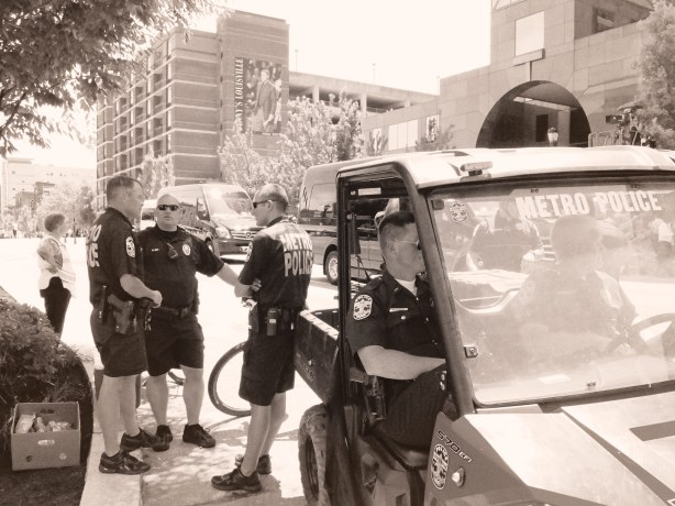Members of the Louisville Police Department were spread throughout the city to help visitors and traffic.