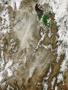 This MODIS satellite image from March 4, 2009, captured a dust event caused by strong easterly winds blowing into the Wasatch Front. (image credit: Jeff Schmaltz MODIS Land Rapid Response Team, NASA GSFC)