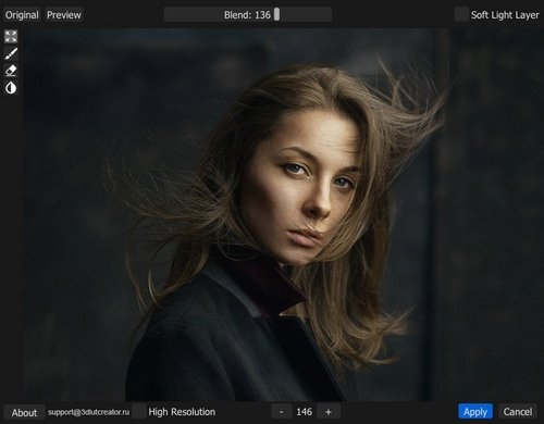 How much time do you usually spend on such retouching? Just imagine how much you will spend if you need to process dozens and hundreds of photos! Retouch4me Portrait Volumes does this automatically!