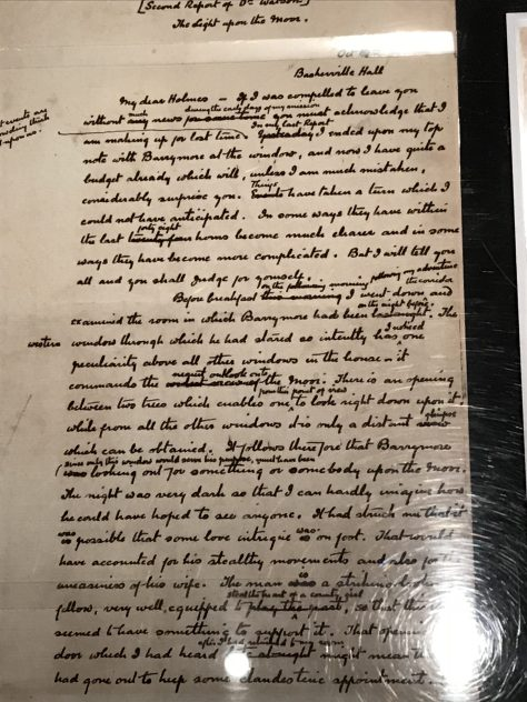 Original manuscript page of The Hound of Baskerville