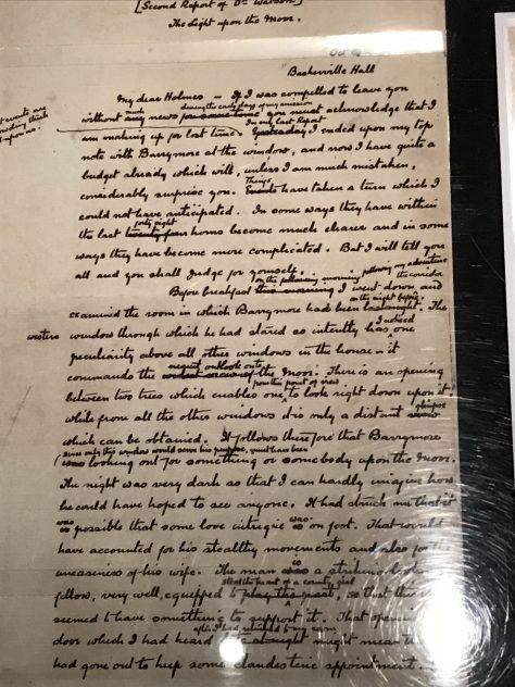 Original manuscript page of The Hound of Baskerville