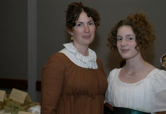 Mother and daughter Deanna and Aria Smith share their love of Jane Austen. Photo by James Heine.