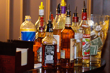 Top Shelf Bartending Alcohol selection at an event