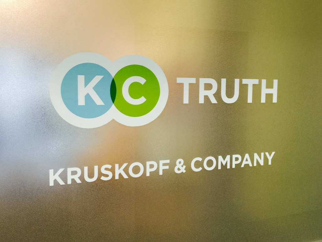 280c78c771 Branding agency - The Kruskopf   Company sign outside the front door of the  agency