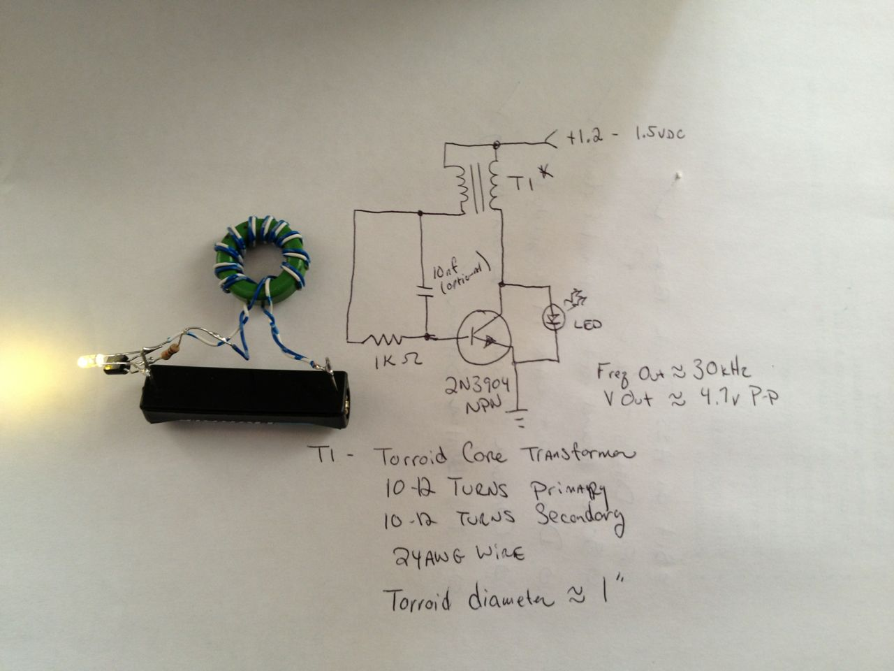 hight resolution of the joule thief and schematic