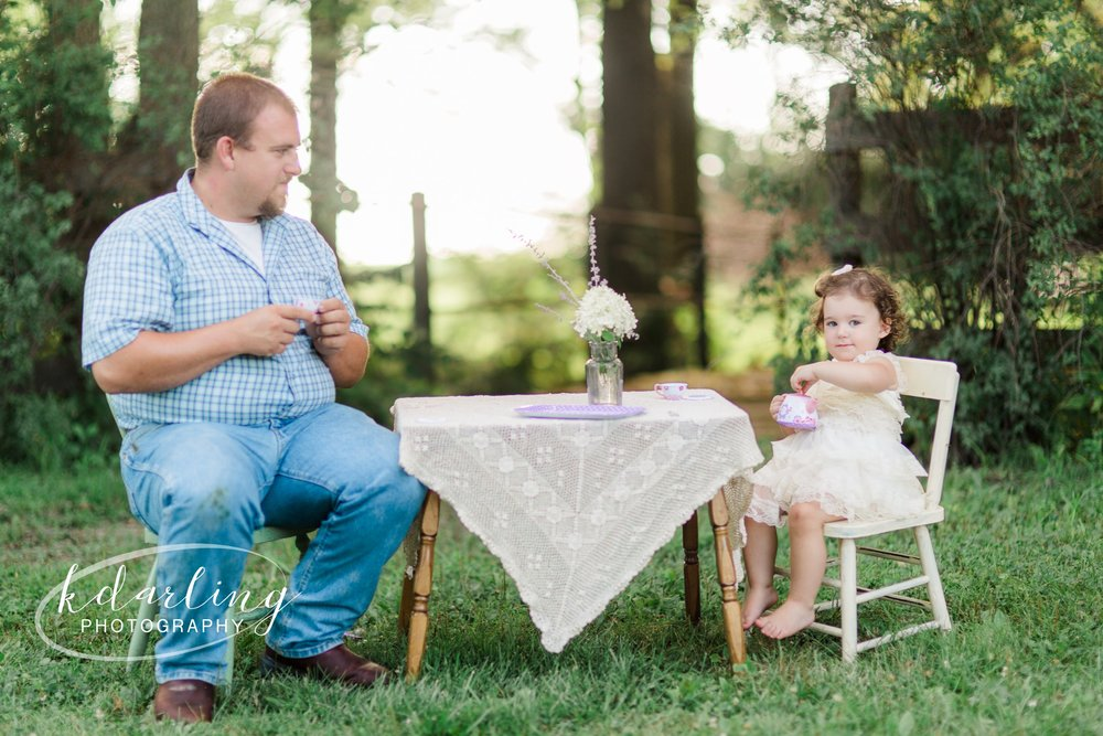 Tea for Two 2nd birthday photo session with daddy