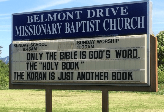 Church sign proclaiming its bigotry