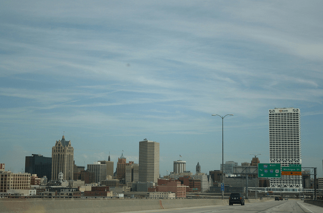 Daytime view of the Milwaukee skyline from the Hoan Bridge