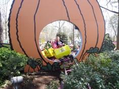 Train coming through the pumpkin.