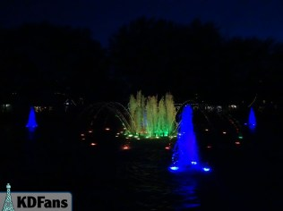 Yellow, Green, and Blue fountains