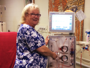 Mary, our Dialysis Nurse, at the Purple House