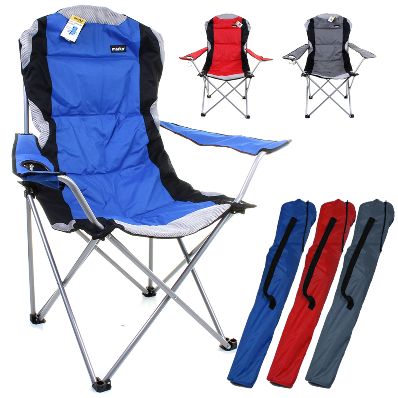 Folding Camping High Chair Heavy Duty Luxury Padded Folding High Back Camping