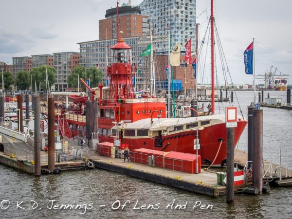 Hamburg In Colour Series - Red Boat In Harbour
