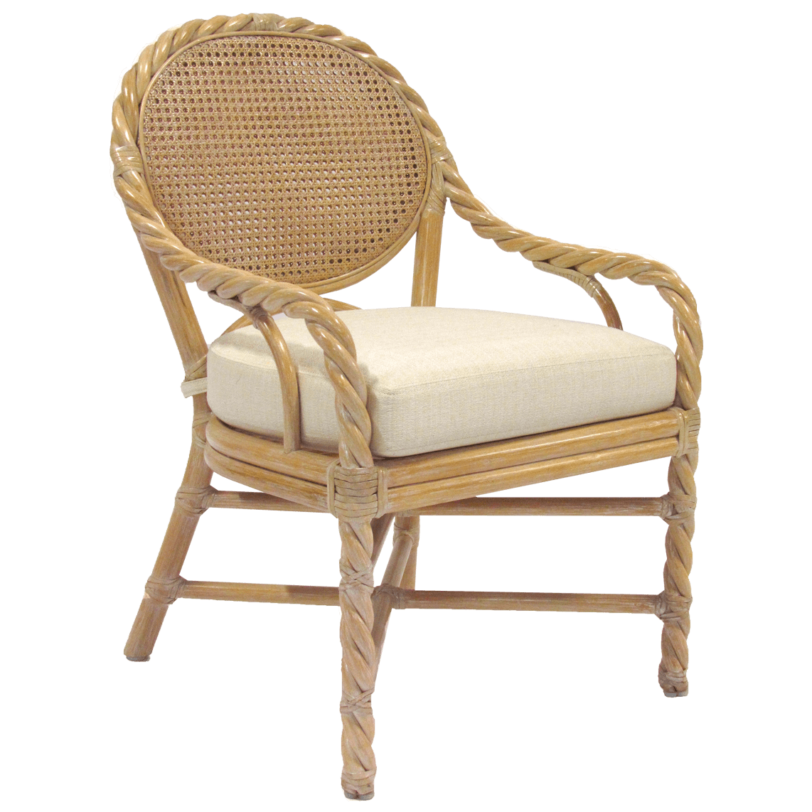 Twisted Rattan Arm Chair