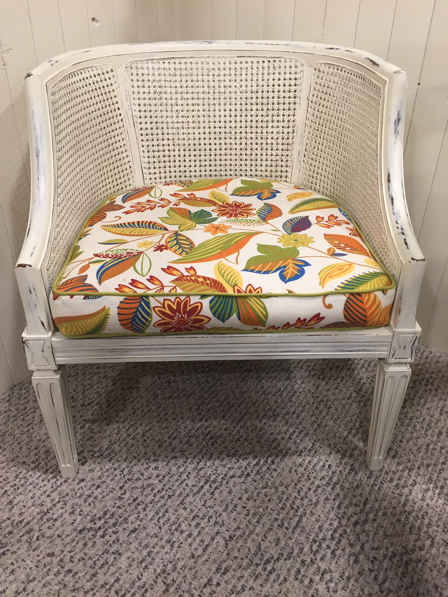 diy wicker chair cushions chairs to help you stand up vintage rattan updated with chalk paint and new