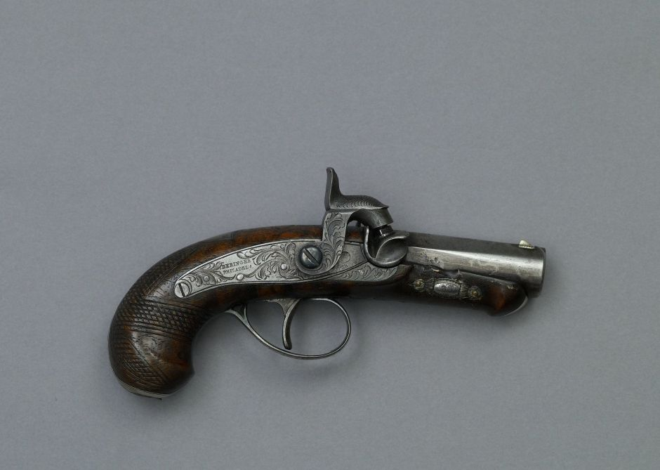 Derringer pistol shot by John Wilkes Booth assasinating President Abraham Lincoln