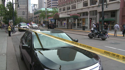 Shooting scene at 15th & California Street. May 17, 2012.