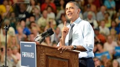 President Barack Obama in Pueblo, Colo. Aug. 9, 2012