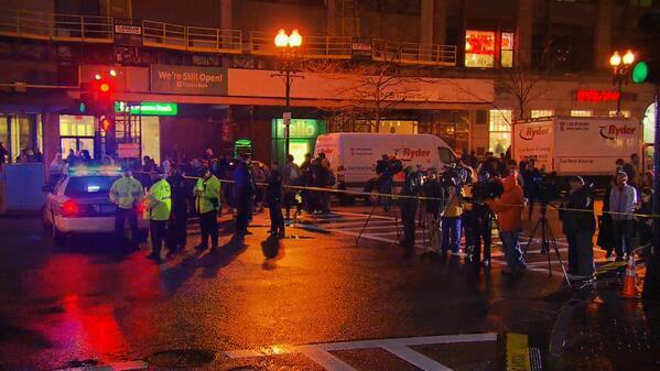 Boston Police bomb squad investigates backpack near the finish line
