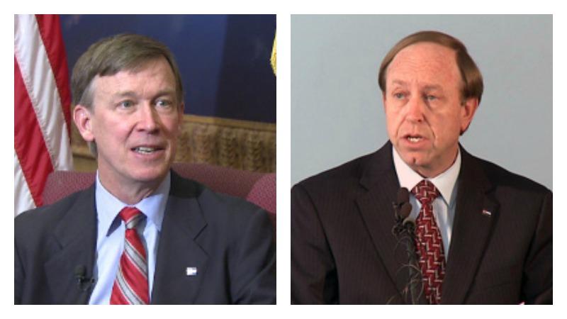 Gov. John Hickenlooper (left) and Colorado Attorney General John Suthers.