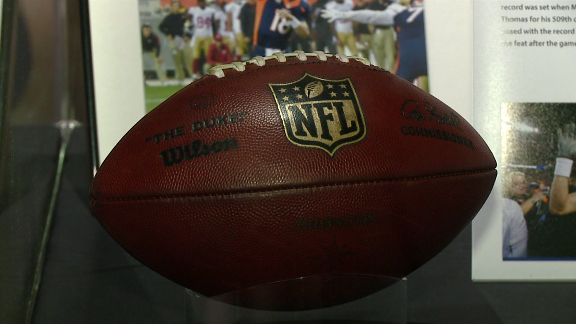 Peyton Manning's record-breaking football on display at the Hall of Fame in Canton, Ohio