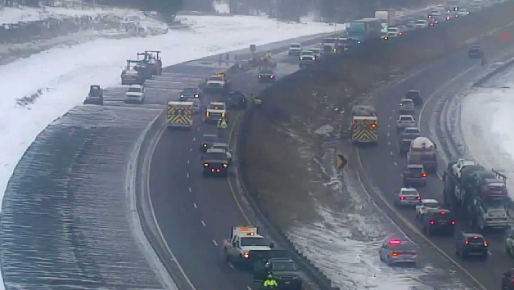 Crash on I-25 near Greenland, Colo. on Feb. 19, 2020. (Image from CDOT camera)