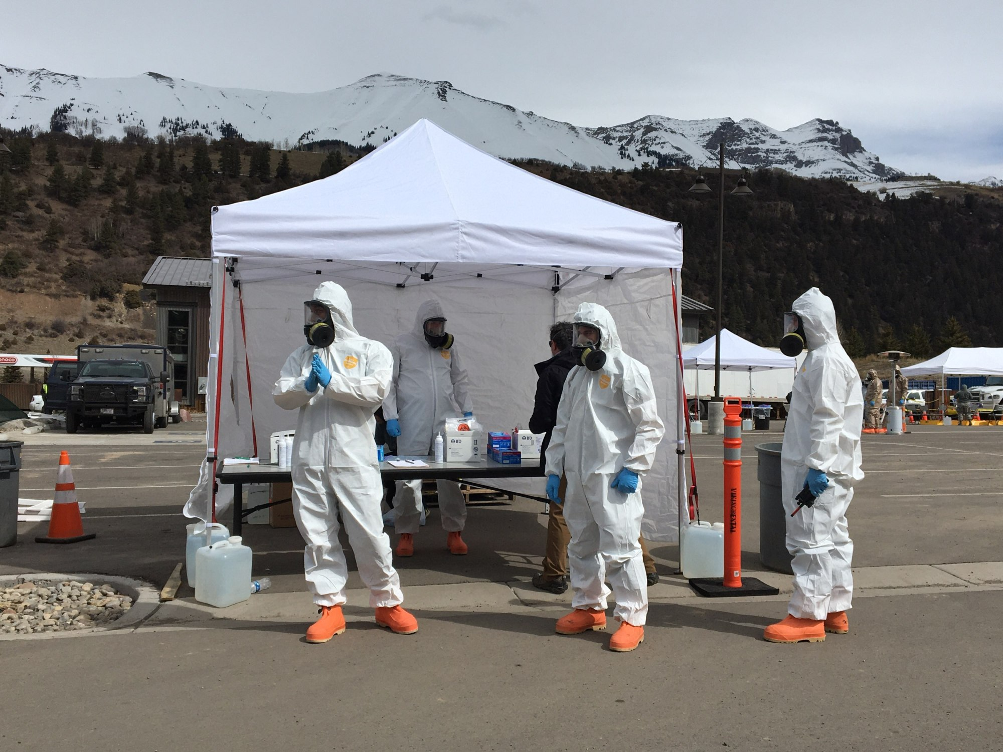 Members of the Colorado National Guard assist San Miguel County and the Colorado Department of Public Health & Environment with a COVID-19 drive-up testing station in Telluride, Colorado, March 17, 2020.
