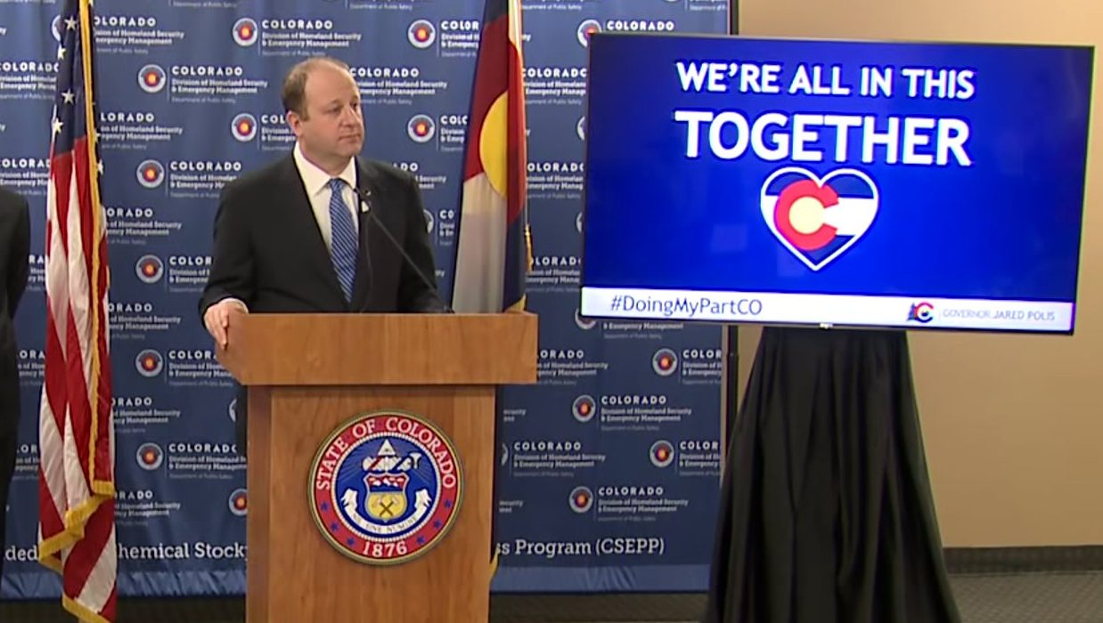 Colorado Gov. Jared Polis holds a news conference on COVID-19 on April 1, 2020.