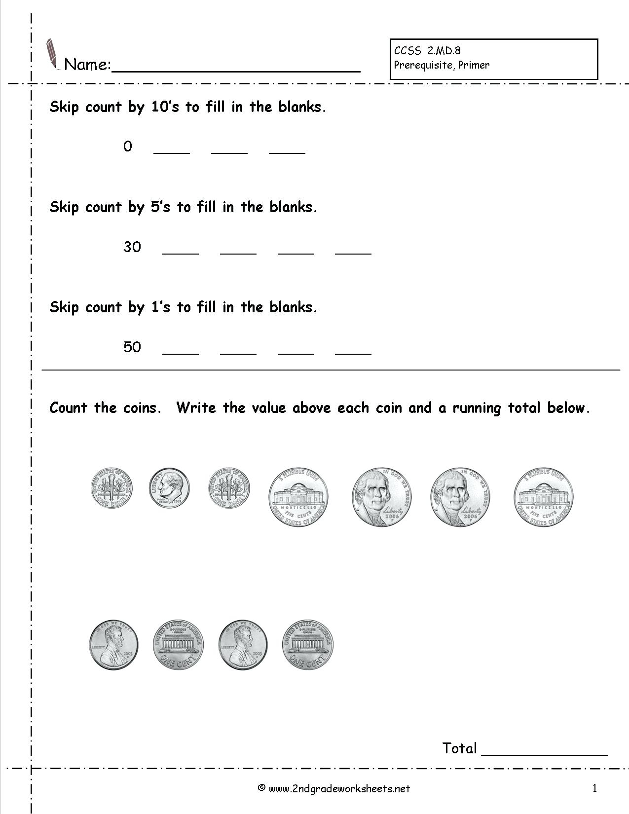 Free Counting Money Worksheets Pictures