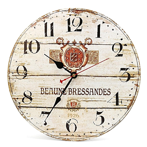 wooden kitchen clock outdoor oven buy generic 34cm vintage style round wall rustic antiqueclock home coffee bar large shabby chic