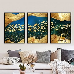 Painting For Living Room Feng Shui Ikea Rugs Generic Qukau 3pcs 40 60cm Wall Picture Mural Luxury Fish Decorative