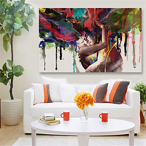 Generic 45x30cm Abstract Couple Canvas Painting Print Art