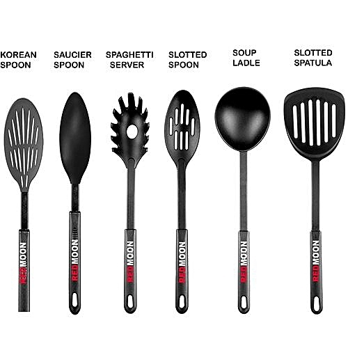 kitchen spoons designs buy generic nonstick cooking utensils 6 piece for pots and pans spatula serving spoon pasta server silicon black best price