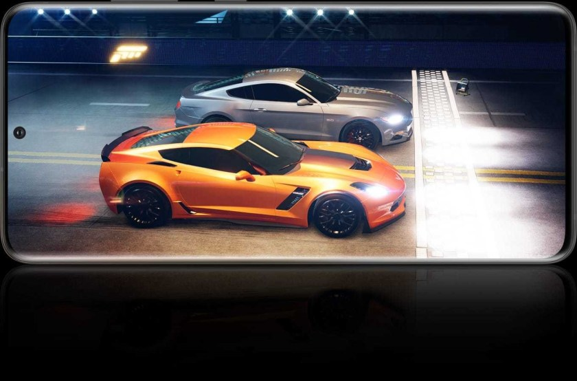 Galaxy S20 Ultra seen in landscape mode with an image from the game Forza Street onscreen
