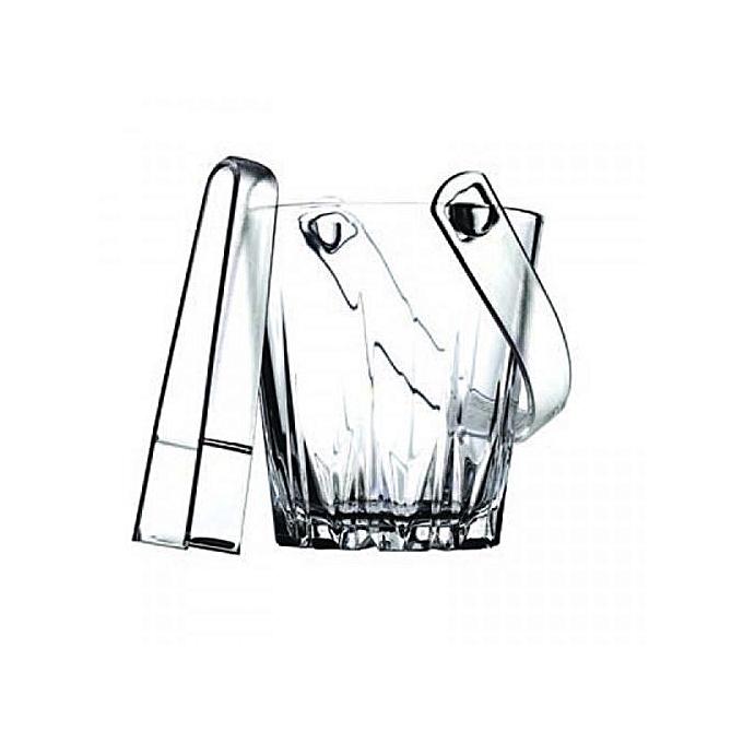 Pasabahce Karat Glass Ice Bucket with Tongs (+ Free Gift