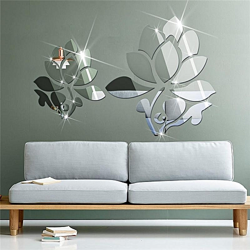 diy living room wall decor hanging chandeliers in rooms buy family shop lotus 3d mirror stickers for decoration home decal