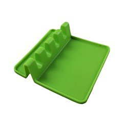Kitchen Spoon Rest 42 Inch Cabinets 8 Foot Ceiling Buy Generic Silicone Stand Ladle Holder Cooking Utensil Shelf Tool Green