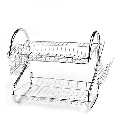 kitchen drying rack renew cabinets buy generic 2 tier stainless steel dish cup holder sink drainer dryer
