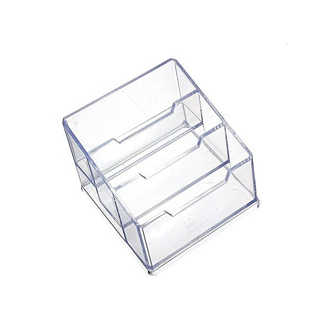 UNIVERSAL 3 Tier Clear Plastic Business Card Holder