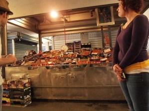 Eating Italy Food Tours - Tomato stand in Mercato Testaccio