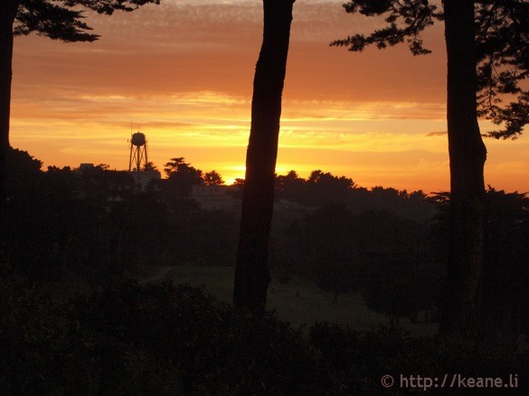 Photo of a water tower at sunset at the Legion of Honor