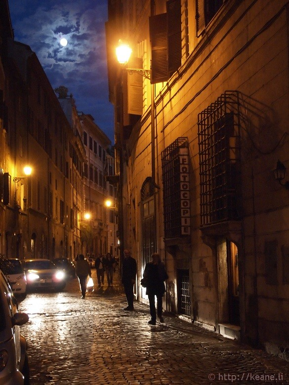Full moon and narrow street in the Centro Storico in Rome