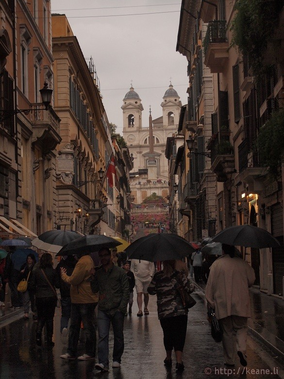 Via dei Condotti and the Trinità dei Monti in the Rain