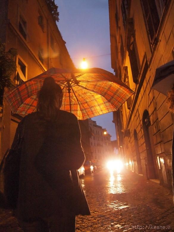 Rome in the Rain - Girl with Umbrella