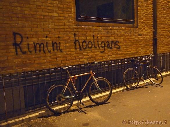 """Rimini Hooligans"" - Graffiti in Rimini's Centro Storico at night"