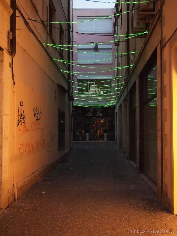 Alleyway in Rimini's Centro Storico at night