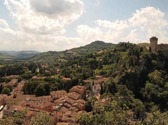 View of Brisighella from the Torre dell'Orologio - City and the fortress