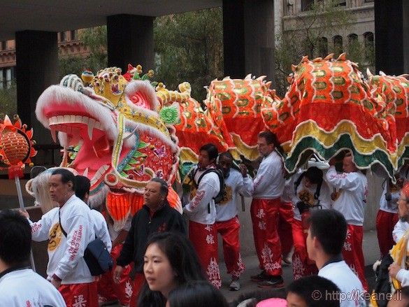 Dragon on Market Street before the Chinese New Year parade