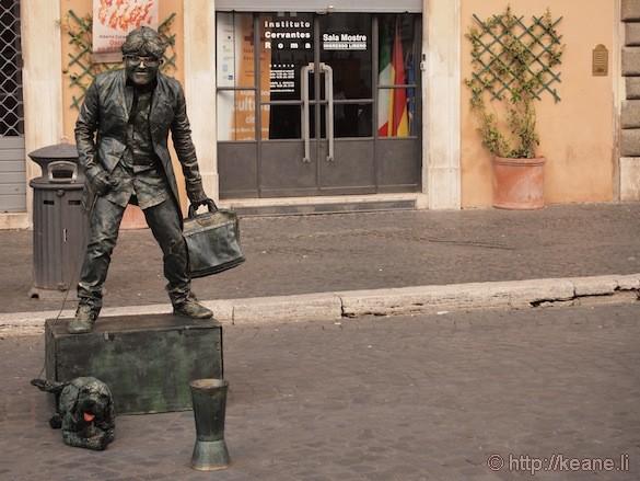 Rome - Robotic silver street performer in Piazza Navona
